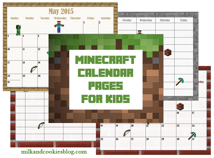 Free 2016 2017 Minecraft Calendar and Planner For Kids | Kid