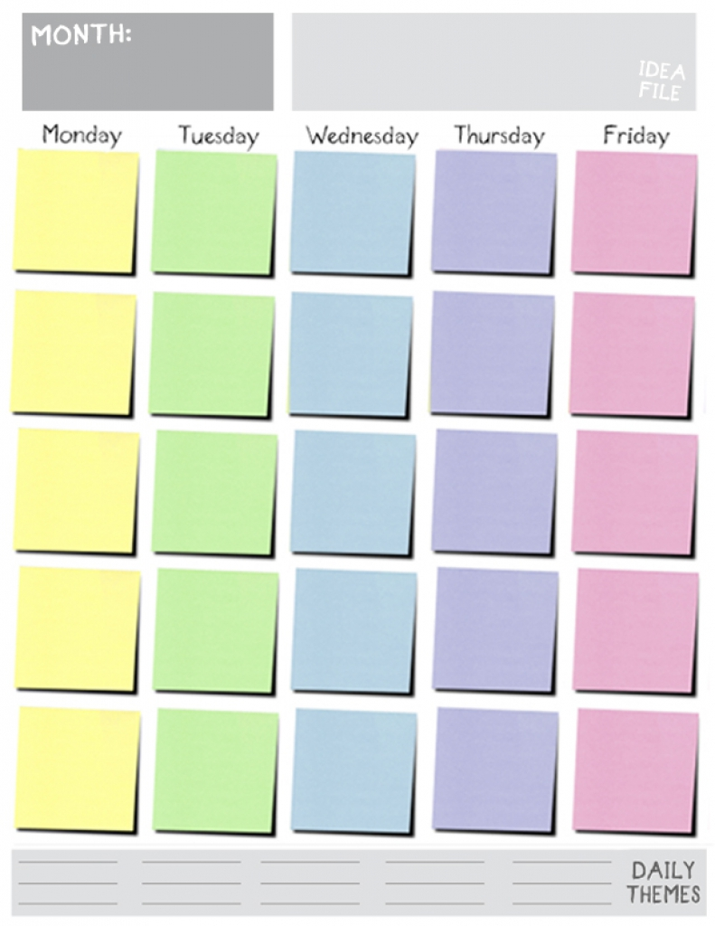 Calendar Typography Template : Monday friday calendar template printable