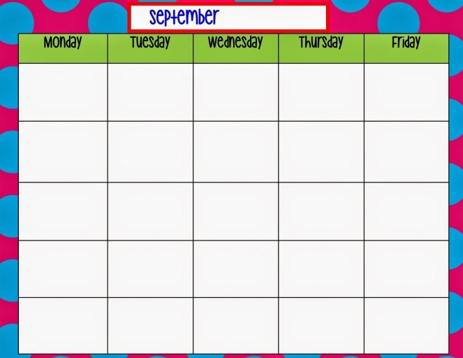 Monday Friday Calendar Template Printable