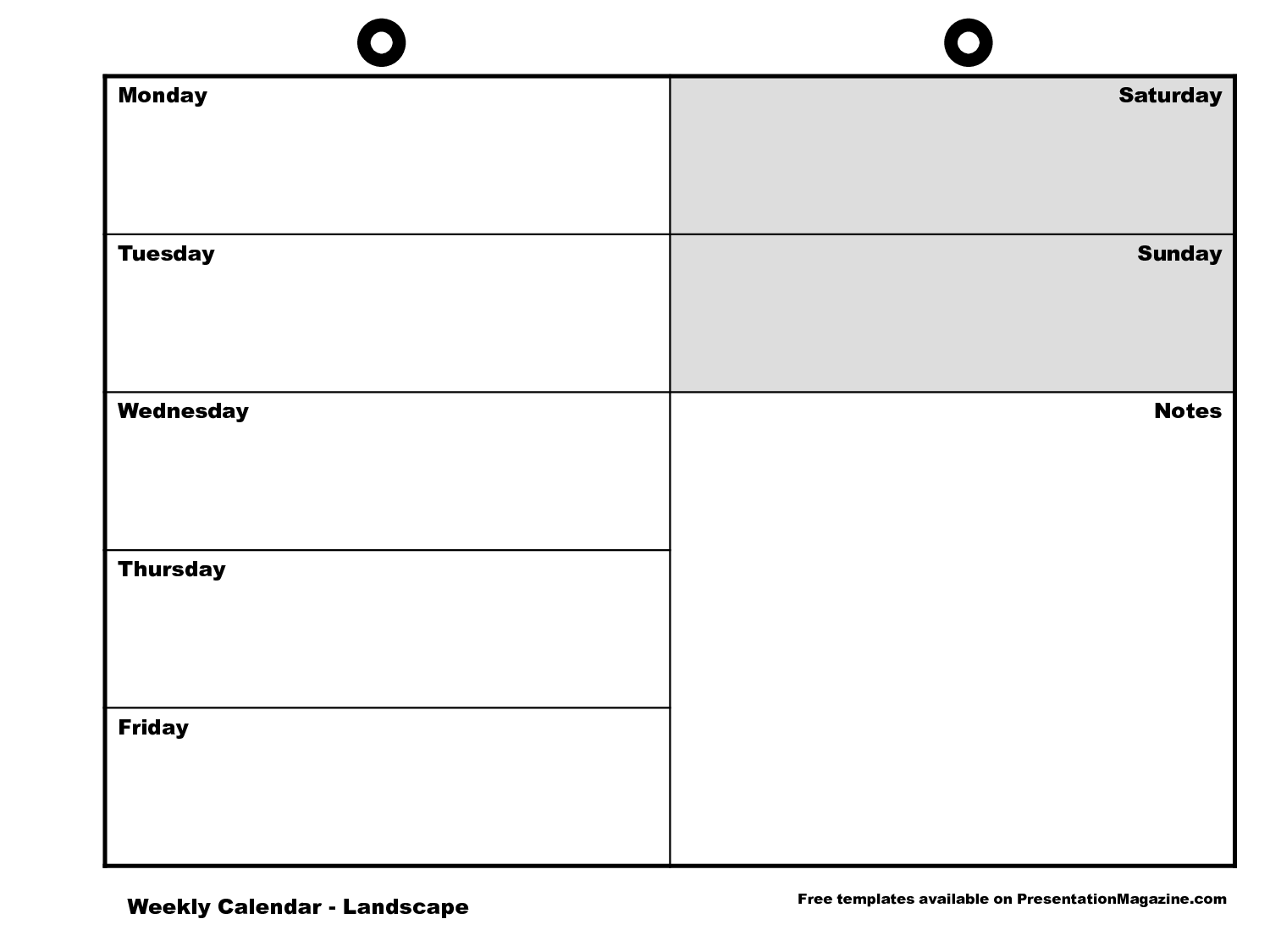 Weekly Calendar Monday To Sunday : Monday through sunday calendar template