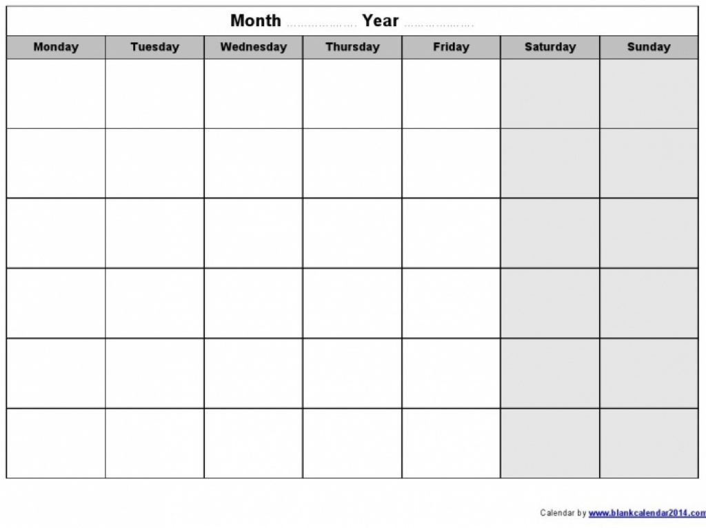 Monday Through Sunday Calendar Template Calendar Printable 2016
