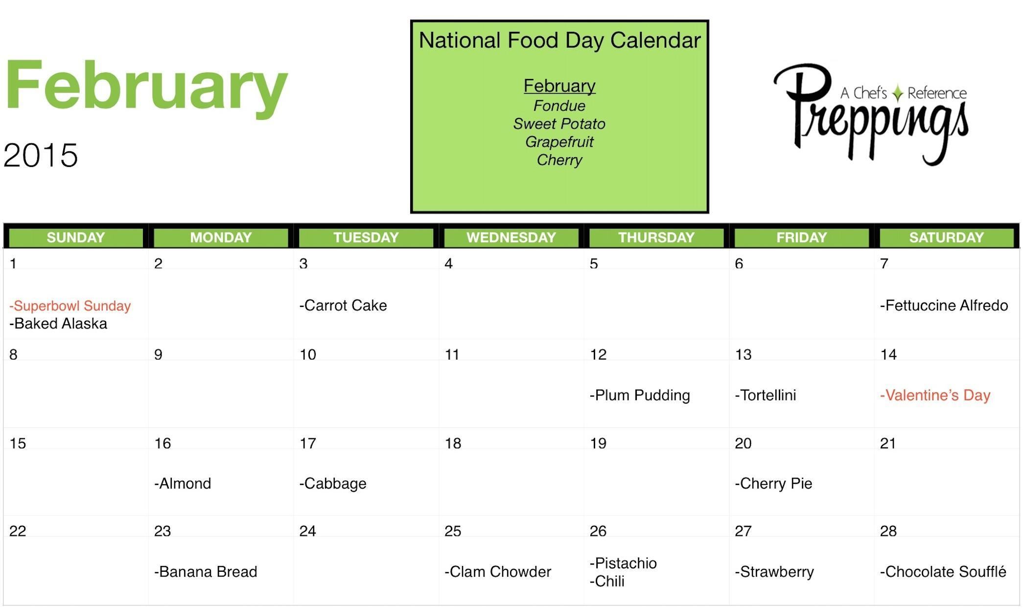 National Food Days February 2015 Preppings
