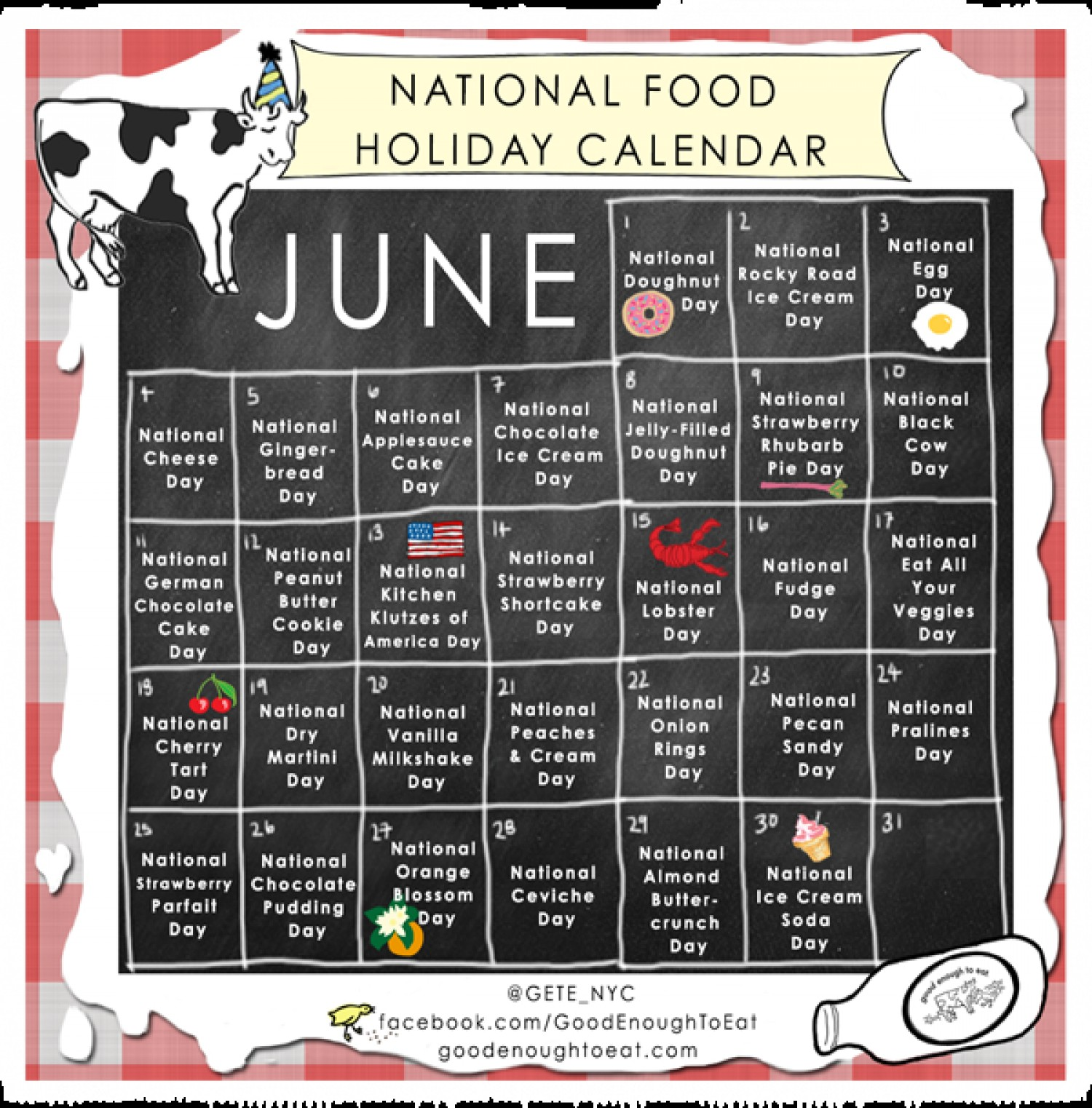 National Food Calendar 2016 | Calendar Template 2017