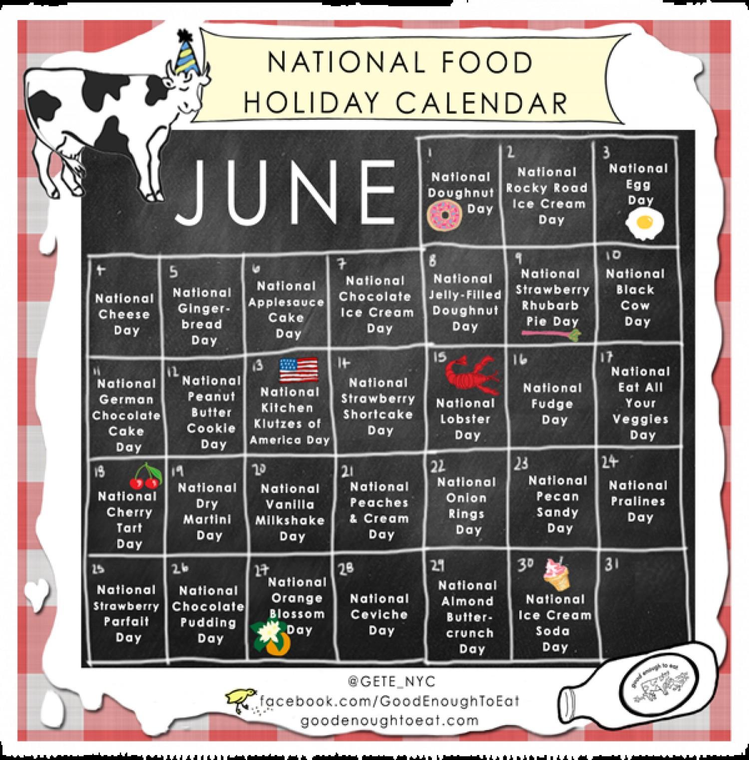 NATIONAL FOOD HOLIDAY CALENDAR JUNE 2013 | Visual.ly