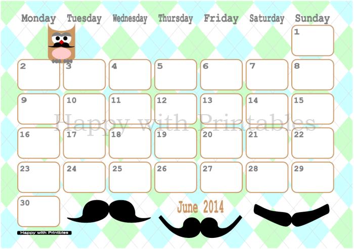 HappywithPrintables: Calendar June 2014 Printable Moustache