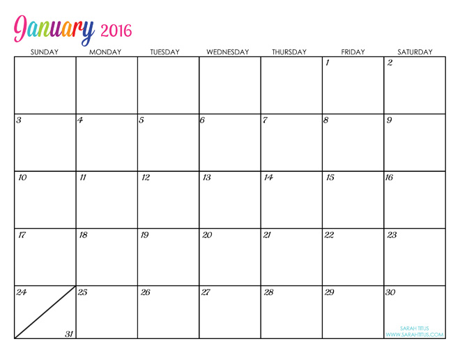 Printable 2016 Monthly Calendar Free