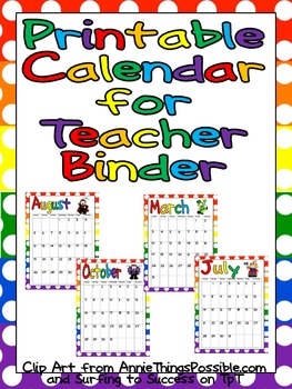 FREE Printable Calendar for Teacher Binder | Mostly School Stuff