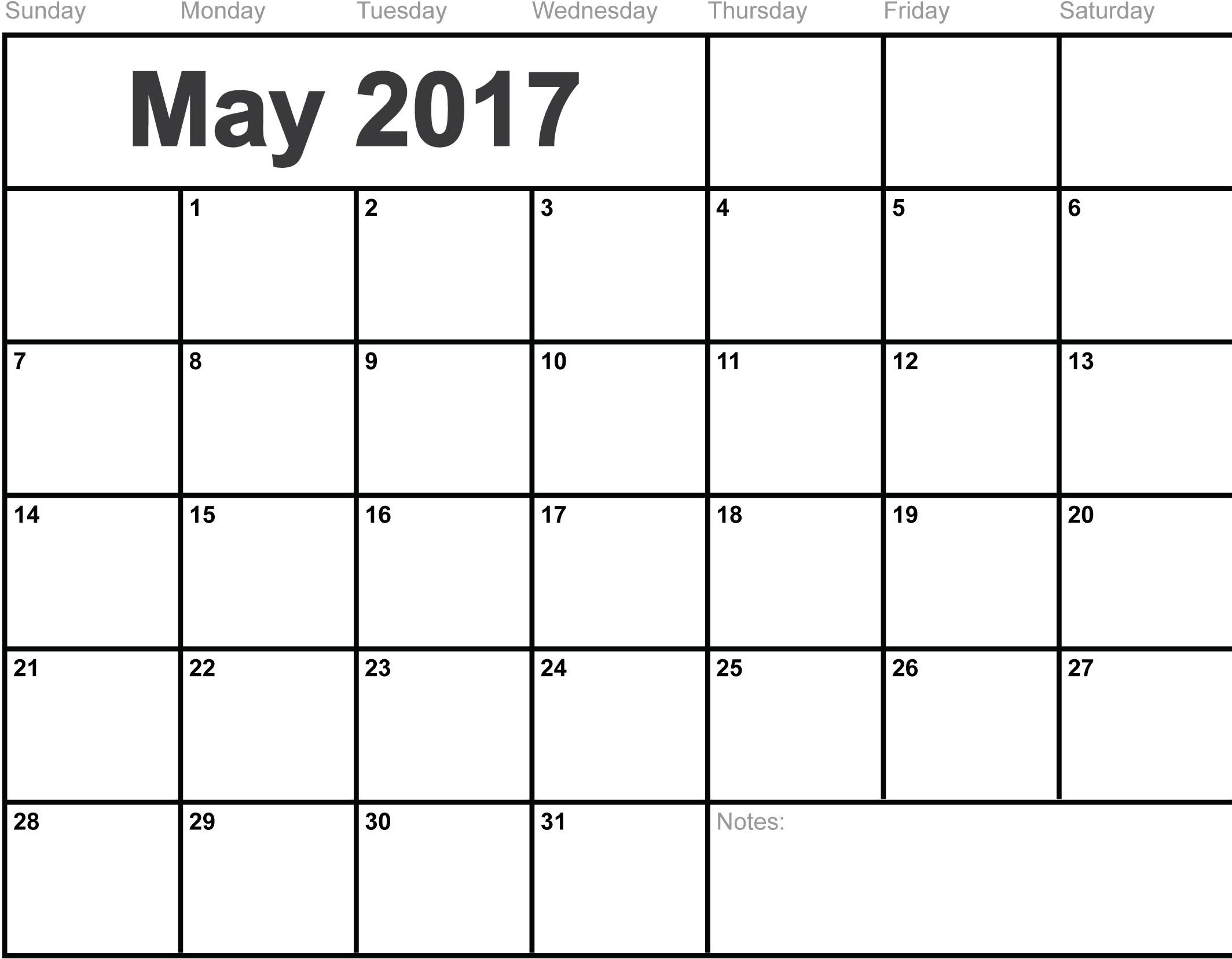 May 2017 Calendar Printable | Templates Social Funda