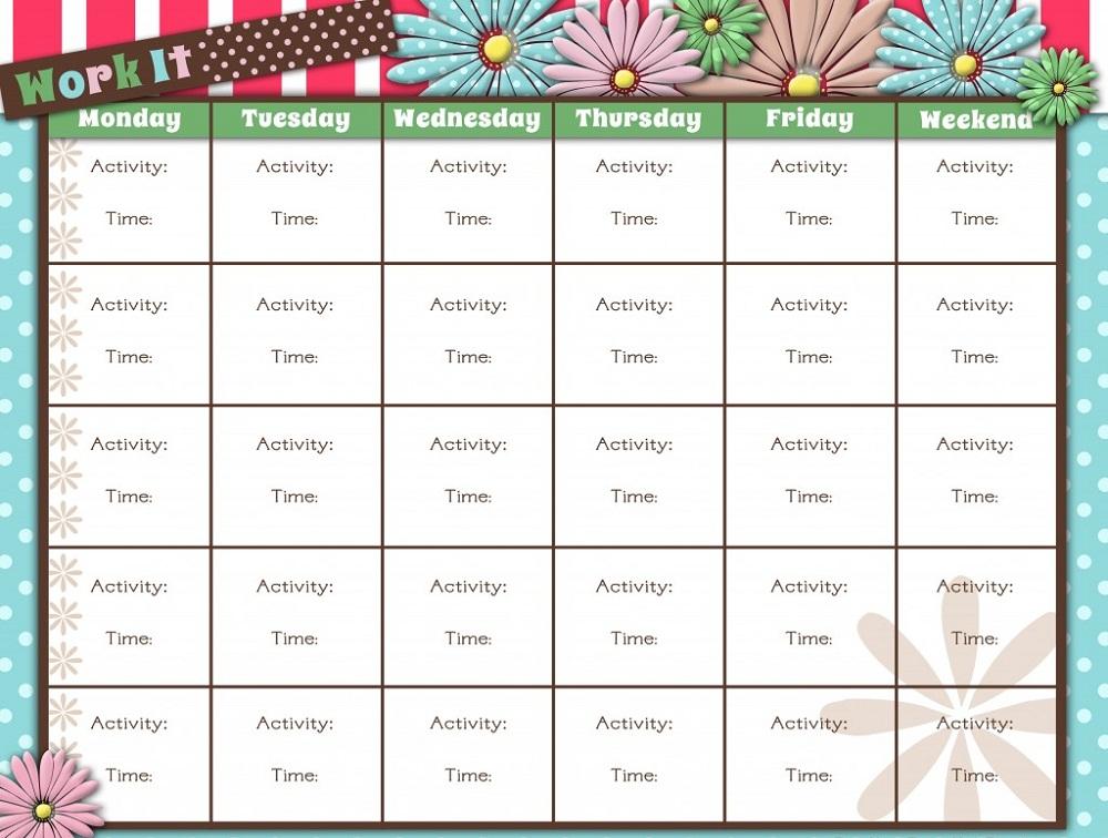 Printable Workout Calendar | Activity Shelter | Calendar Template