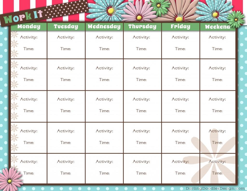 Printable Workout Calendar Workout