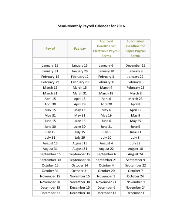 Payroll Calendar Template 10+ Free Excel, PDF Document Downloads