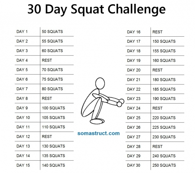 31 Day Squat Challenge: Free Monthly Workout Calendar