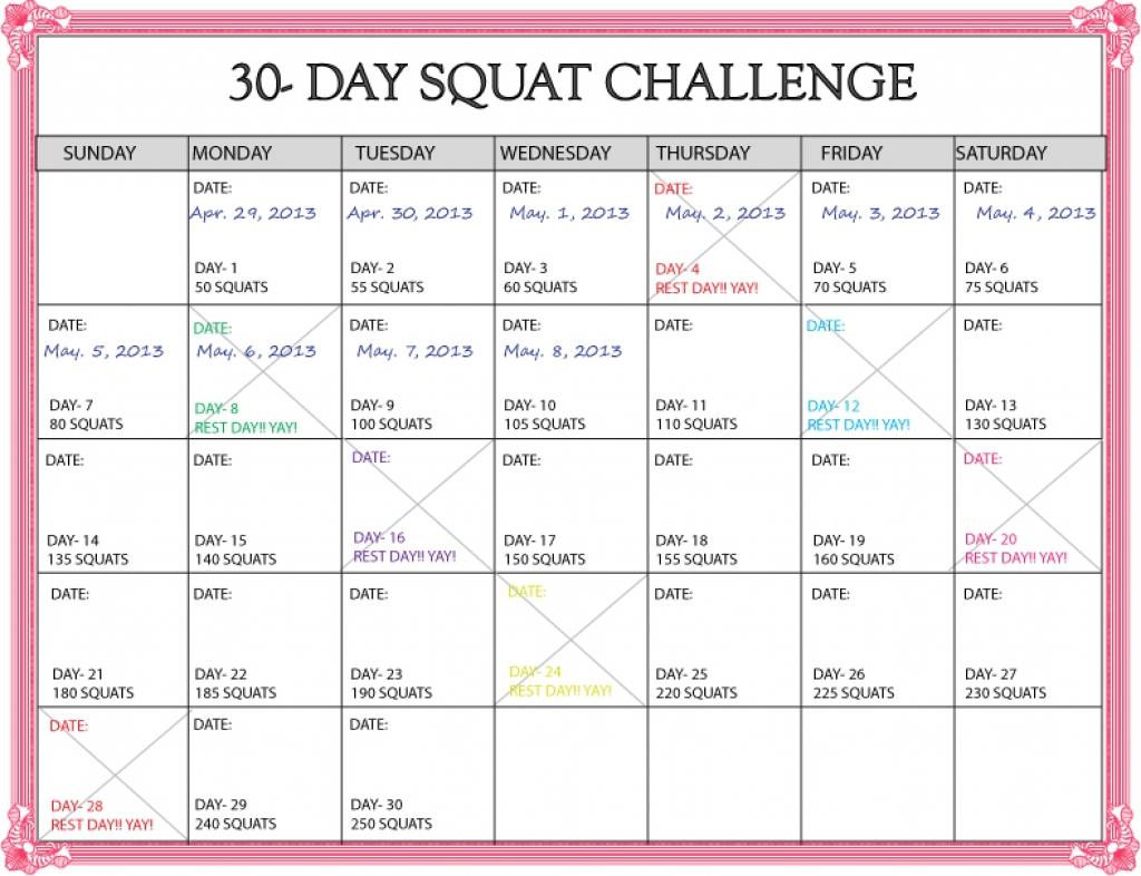 Squat Challenge Calendar Printable | Pics | Download |