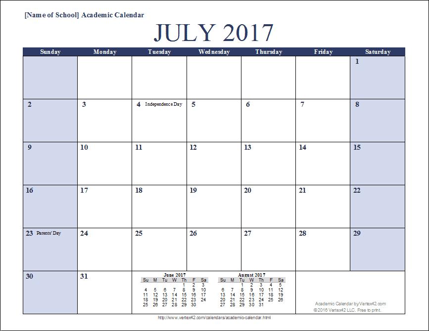 Summer Calendar Template | 2017 calendars