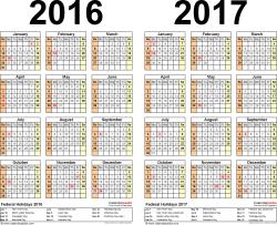2016 2017 Calendar free printable two year PDF calendars