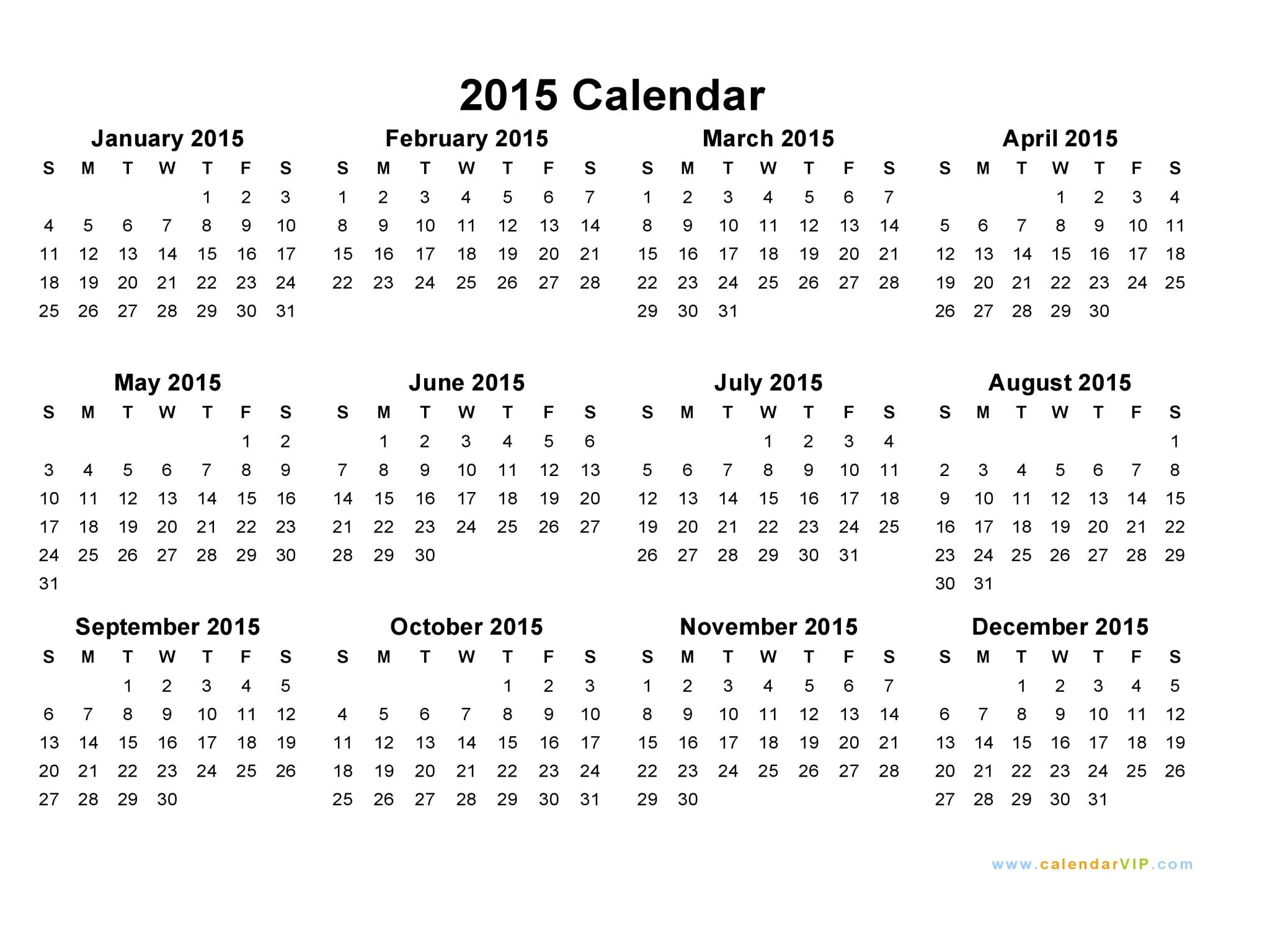 2015 Calendar Blank Printable Calendar Template in PDF Word Excel