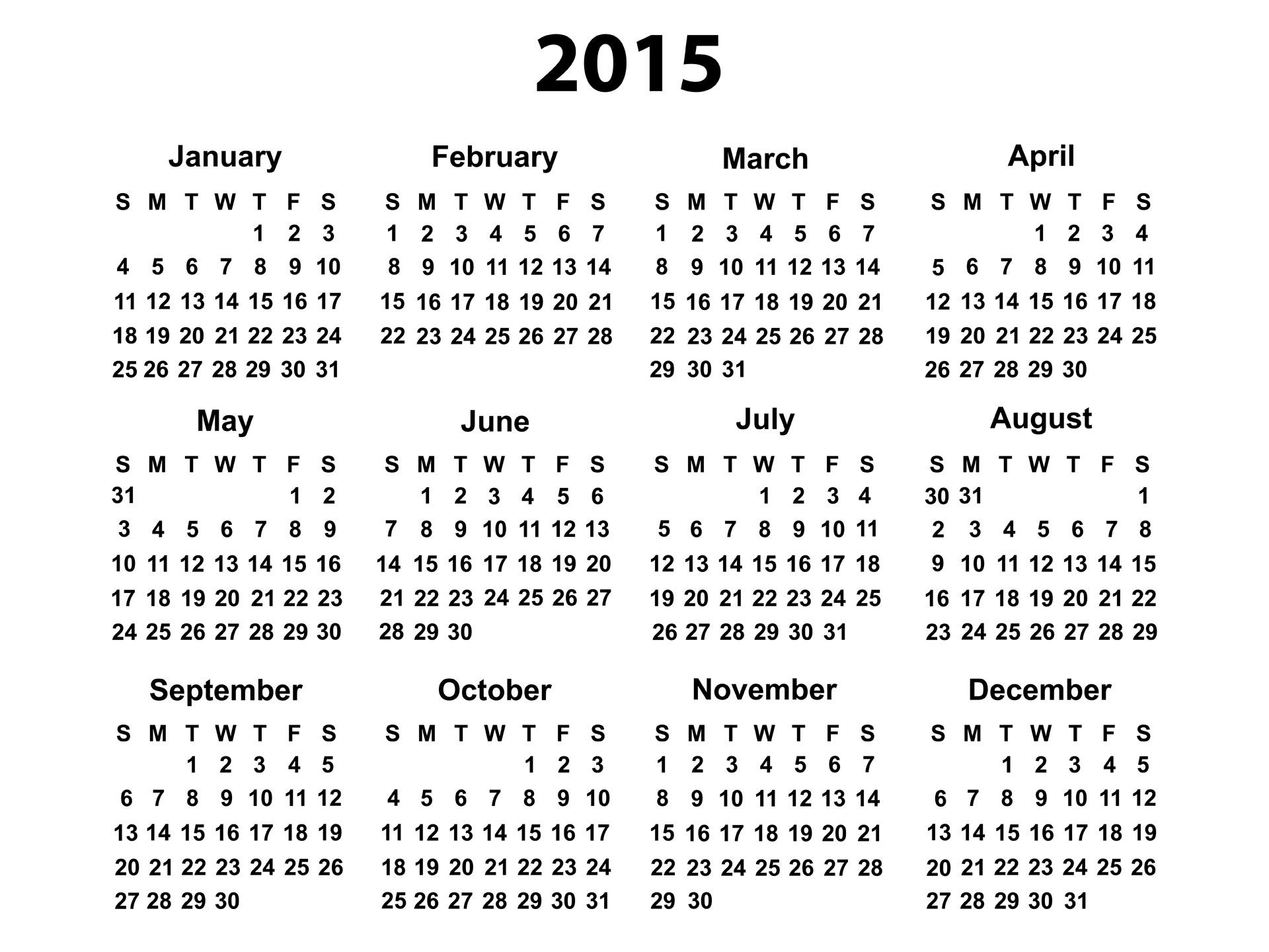 Free Printable 2015 Calendar Year   Download 2015 PDF calendars of