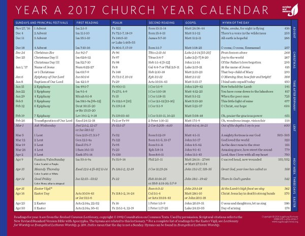 Church Year Calendar 2017, Year A