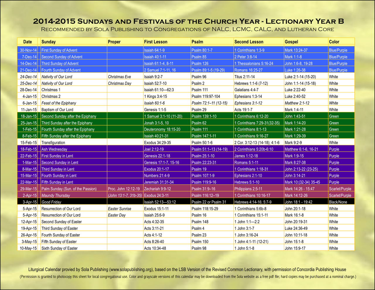 Elca Liturgical Calendar 2017 Academic Calendar