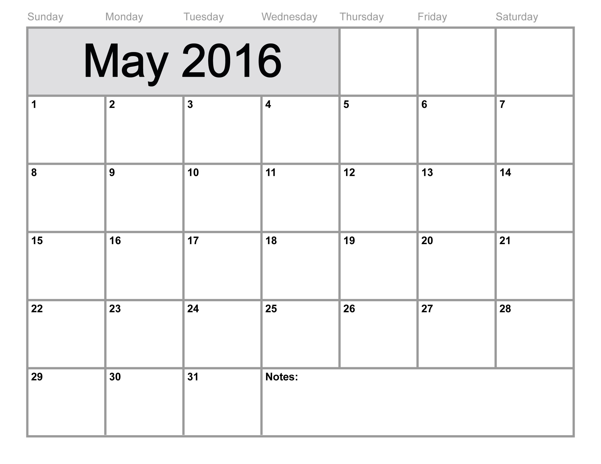 2016 Monthly Calendar May