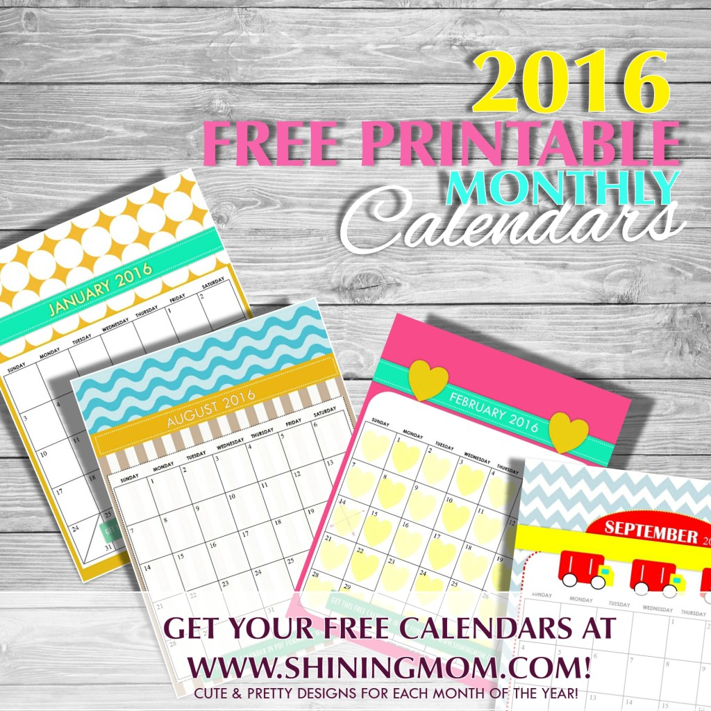 Free Printable: Cute 2016 Calendars by Shining Mom! | 2016