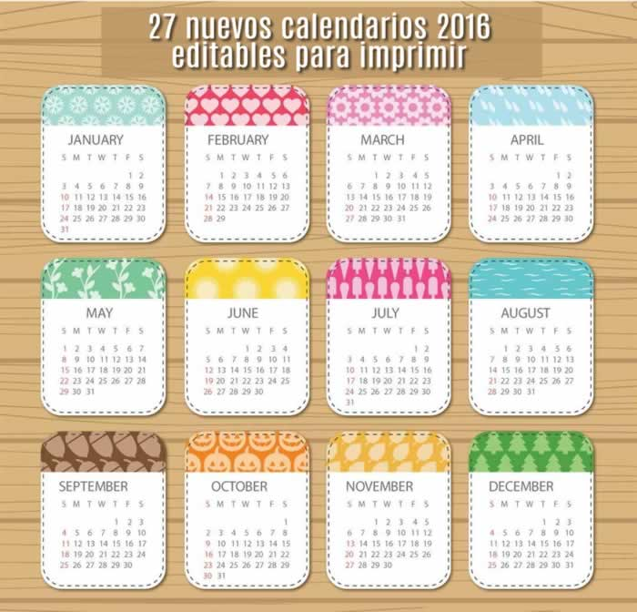 CALENDARIOS 2016 PSD PNG PHOTOSHOP PARA IMPRIMIR EDITABLES