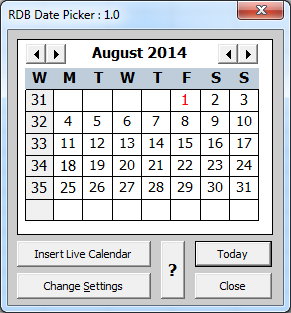 Date Picker Add in for Excel for Windows