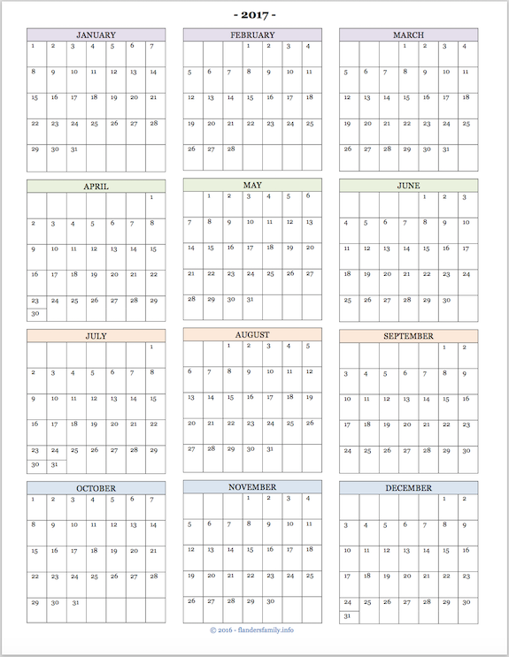 2017 Calendars for Advanced Planning Flanders Family Tumblog