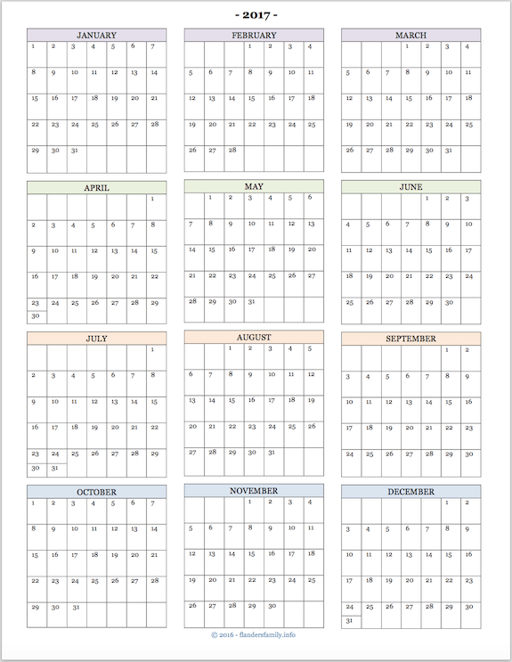 2017 Calendars for Advanced Planning | Flanders Family Homelife