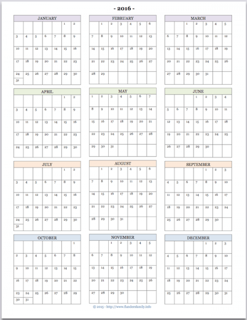 Mailbag: 2016 Calendars for Advanced Planning | Flanders Family