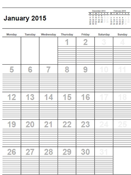 Free Printable Monthly Calendar With Lines : Free monthly calendars with lines calendar template