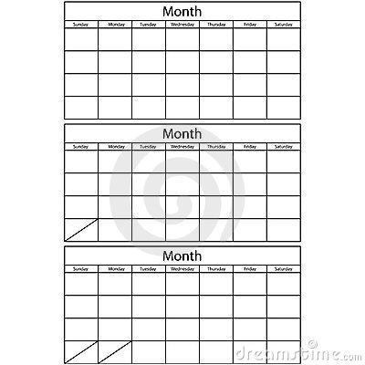 Blank 3 Month Calendar – Printable Editable Blank