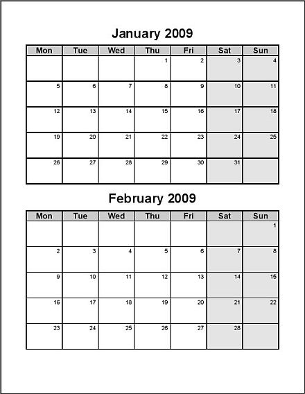Bi Monthly Calendar Template. free printable calendars