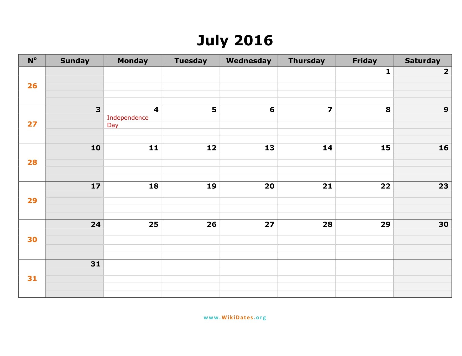 July 2016 Calendar | Fotolip.Rich image and wallpaper