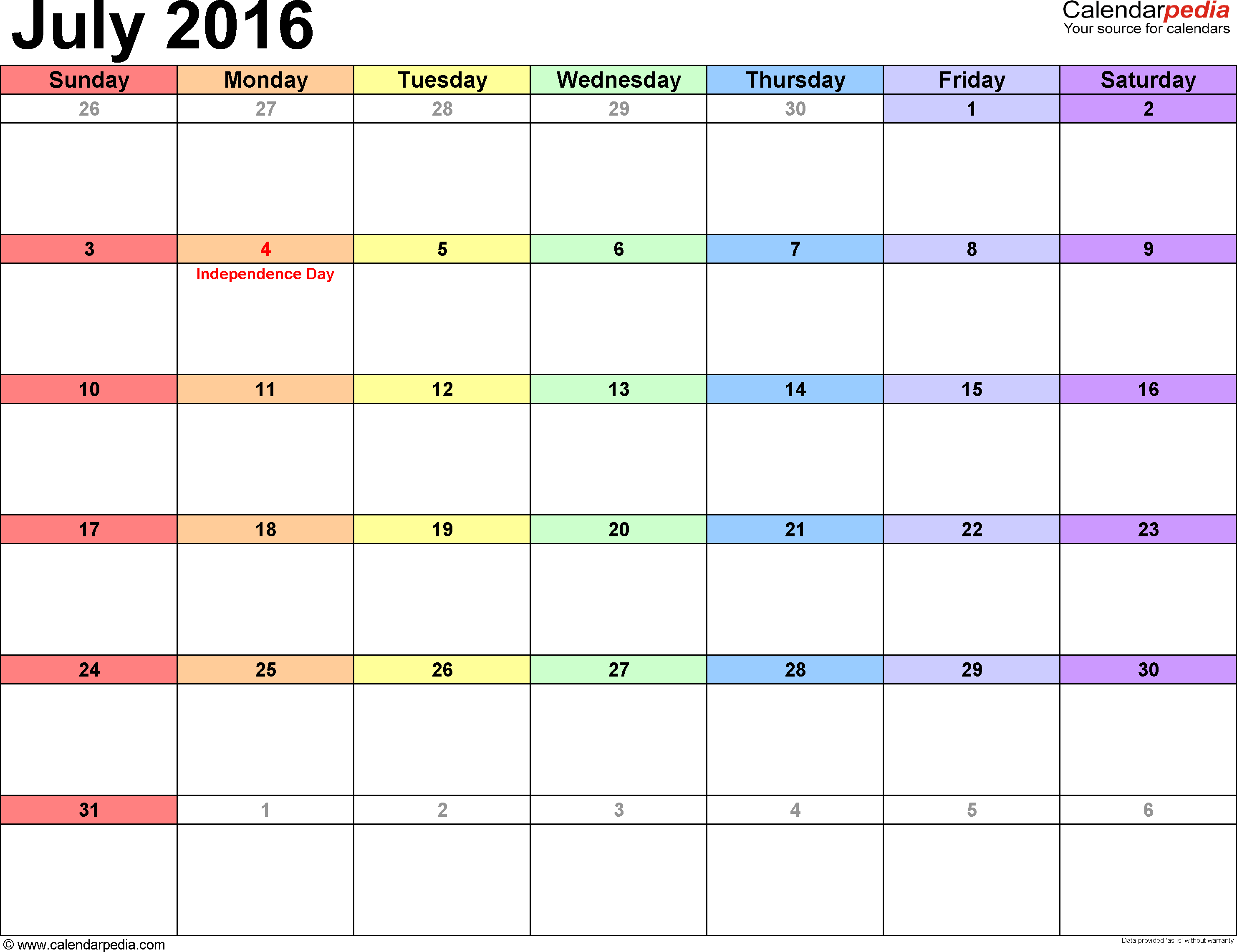 july 2016 calendar with lines