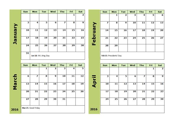 To Month 2016 Calendar