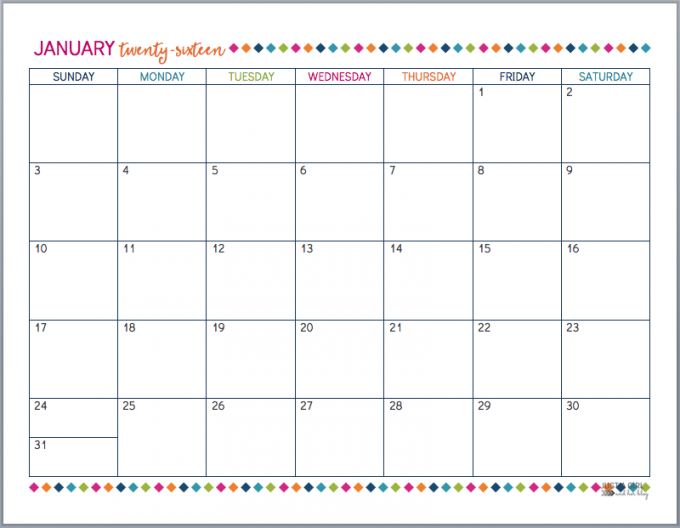 Print Free 2016 Monthly Calendar