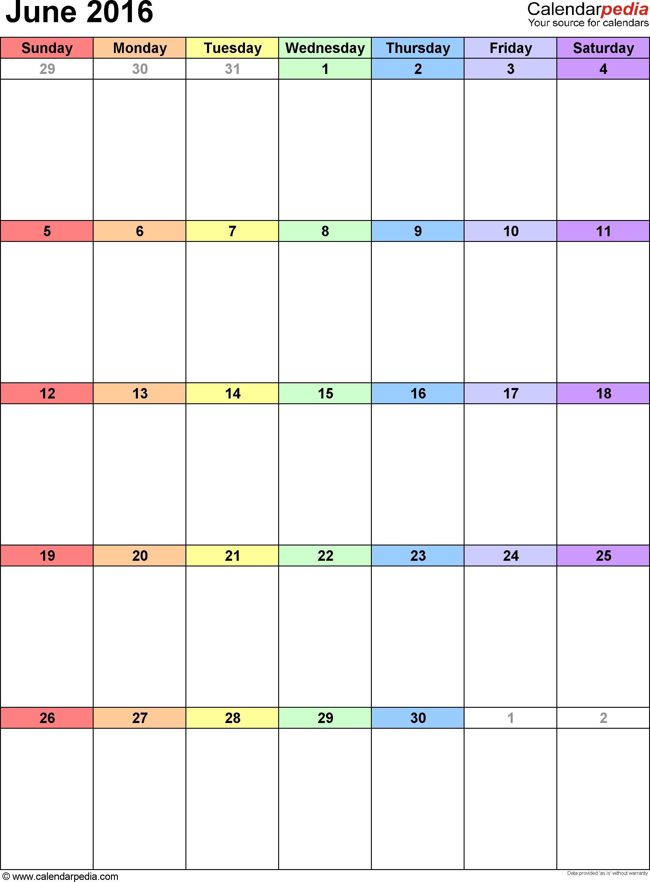 June 2016 Calendars for Word, Excel & PDF