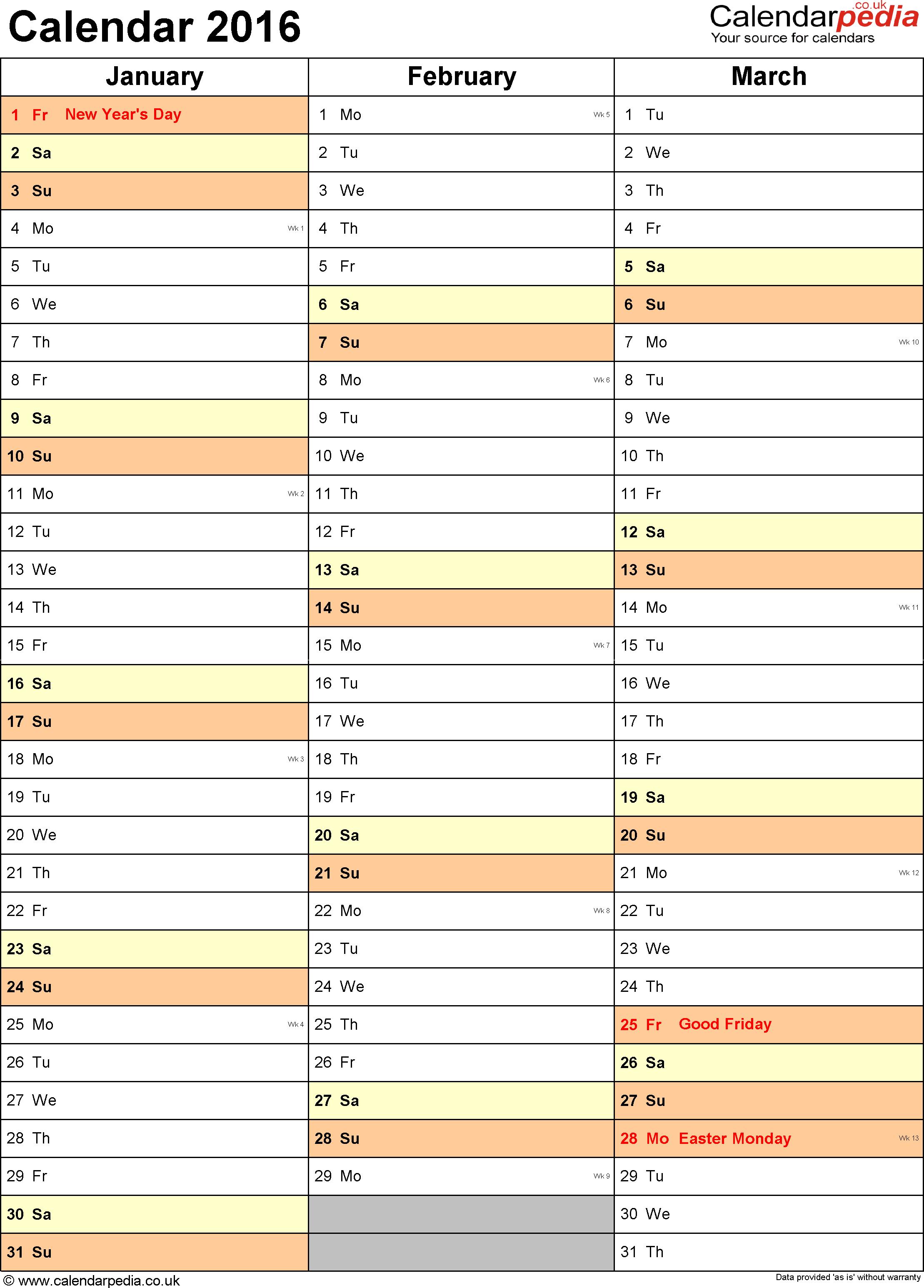 Calendar 2016 (UK) 16 free printable Word templates