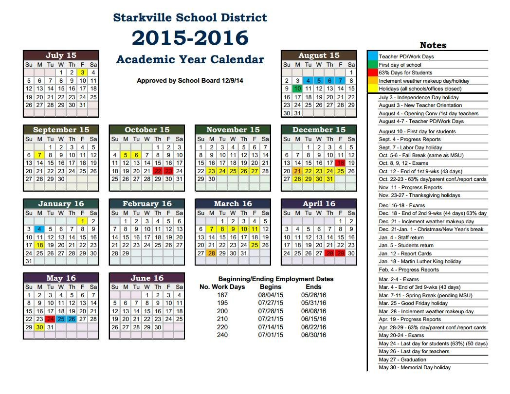 2015 2016 Calendar :: Starkville School District Starkville, MS
