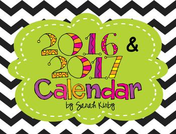 2017 AND 2018 Editable Calendar PDF Version by Sarah Kirby | TpT