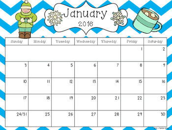 2016 Editable Calendar Sarah Kirby   Calendar Template 2017