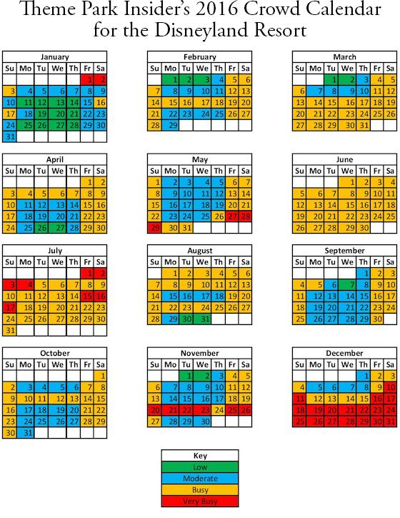 Disneyland California Calendar 2016