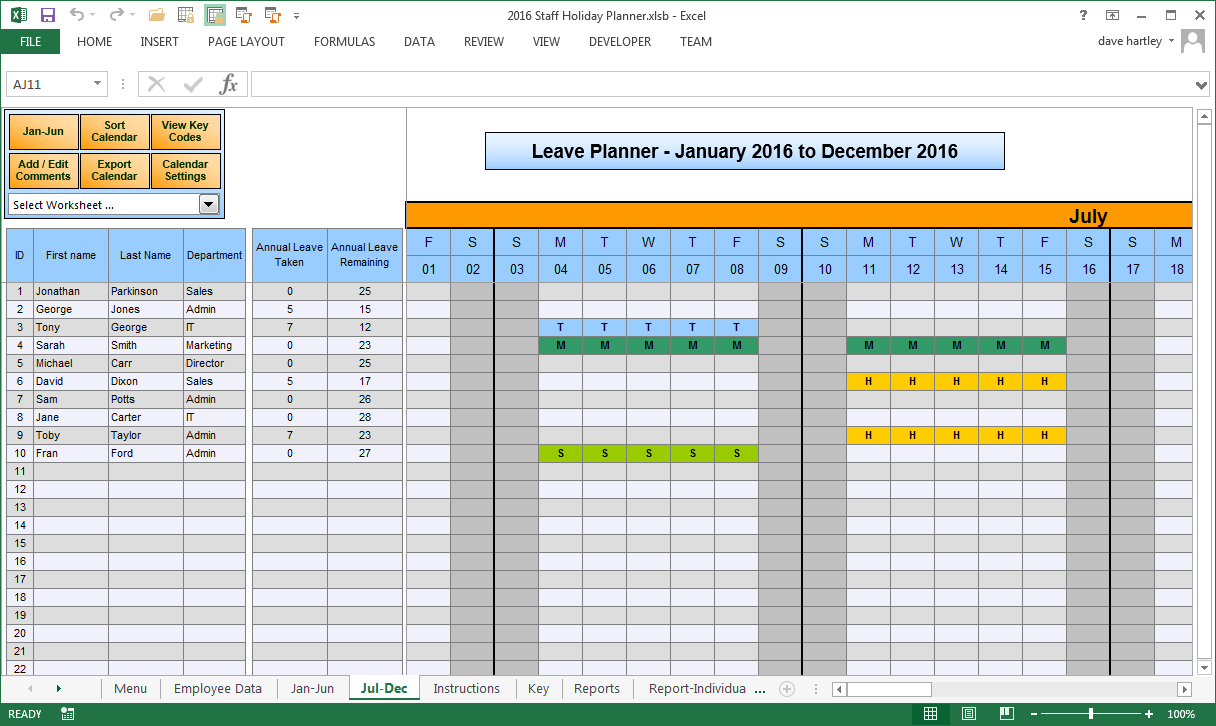 Employee time off calendar 2016 calendar template 2018 for Request off calendar template