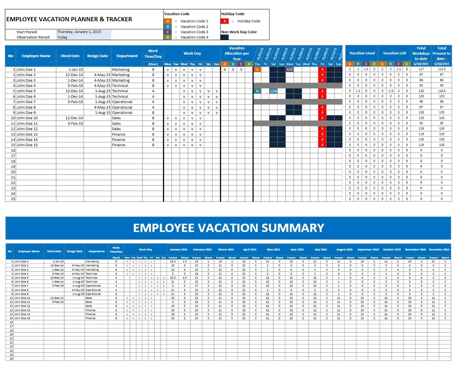 Calendar Templates With Time Slots : Employee time off calendar template