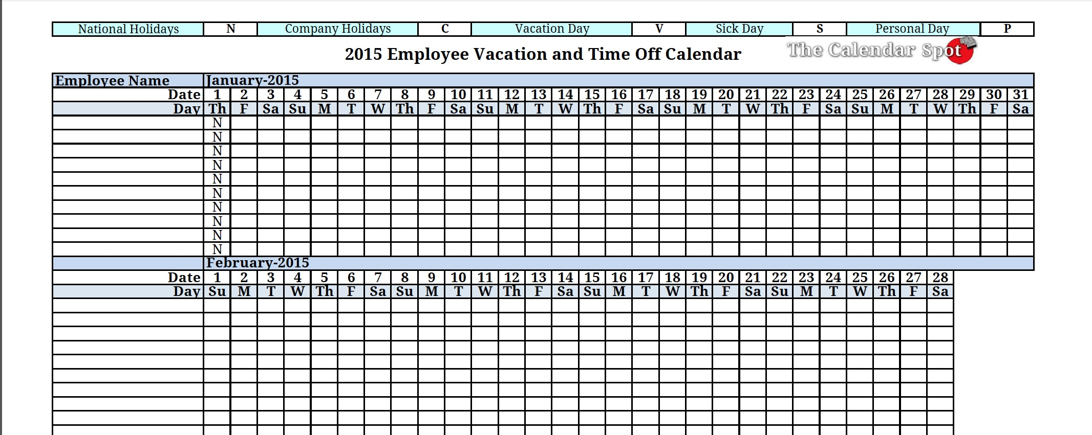 Printable 2016 Employee Vacation And Time Off Calendar Free