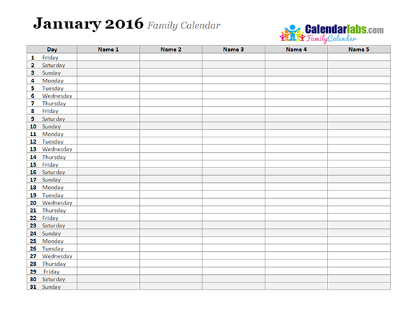 2016 Monthly Planner Template Free Printable Templates