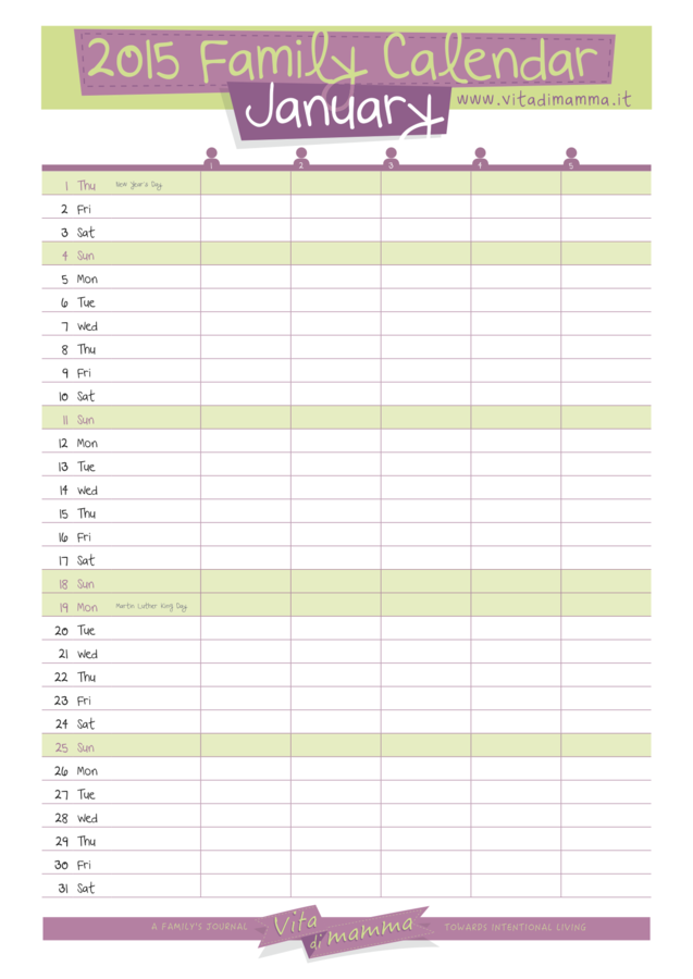 family calendar template Template