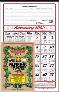 2015 or 2016 American Almanac Calendar (Farmer's Almanac Calendar