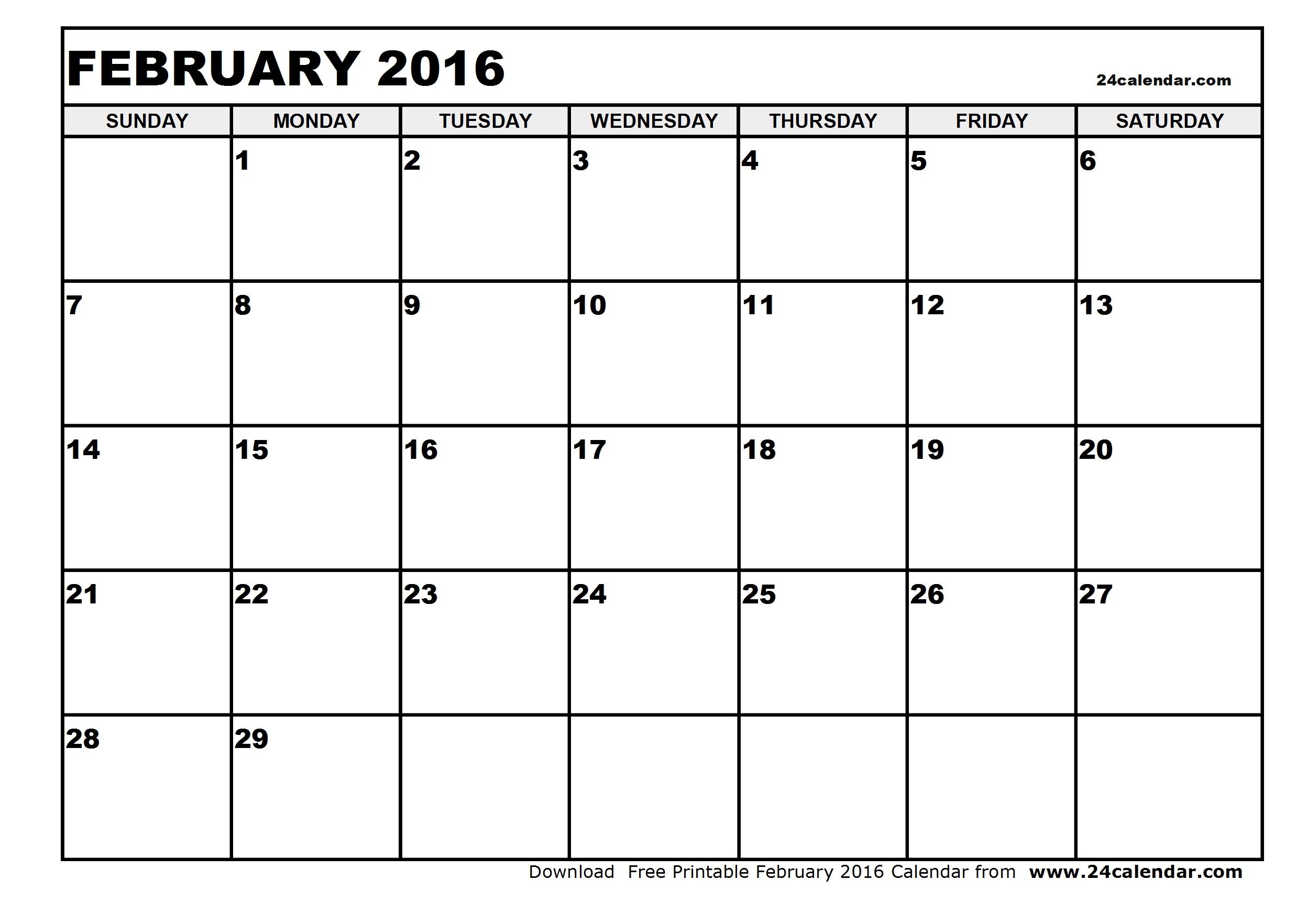 Free Printable Calendars 2016 February | Blank Calendar Design 2017